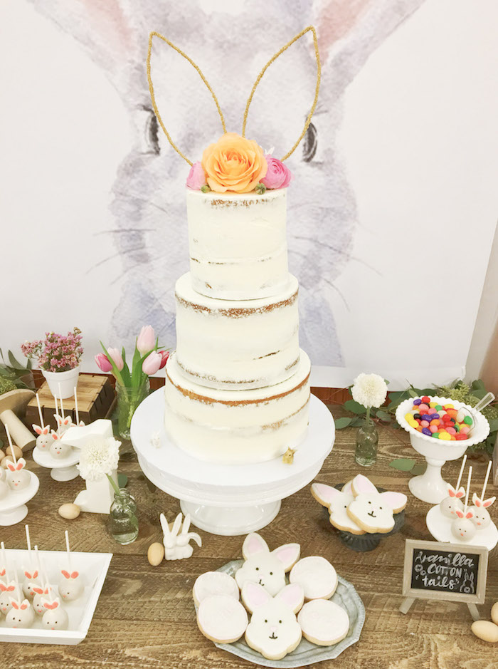 Bunny Themed Cake Table from a Some-Bunny is One Birthday Party on Kara's Party Ideas | KarasPartyIdeas.com (17)