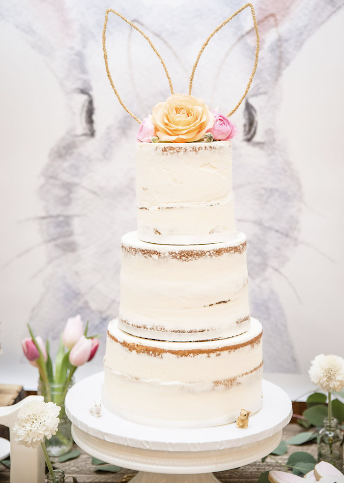 Bunny-eared Semi-naked Cake from a Some-Bunny is One Birthday Party on Kara's Party Ideas | KarasPartyIdeas.com (11)