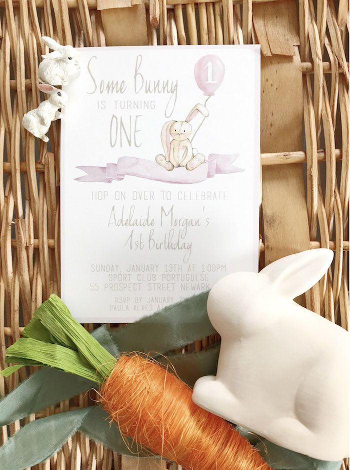 Bunny Party Invite from a Some-Bunny is One Birthday Party on Kara's Party Ideas   KarasPartyIdeas.com (9)