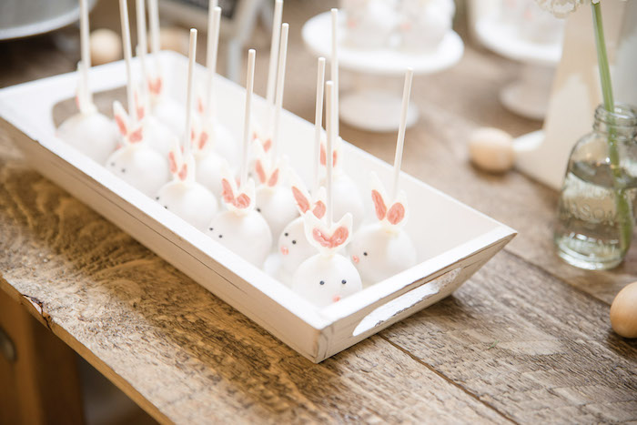 Bunny Cake Pops from a Some-Bunny is One Birthday Party on Kara's Party Ideas | KarasPartyIdeas.com (8)