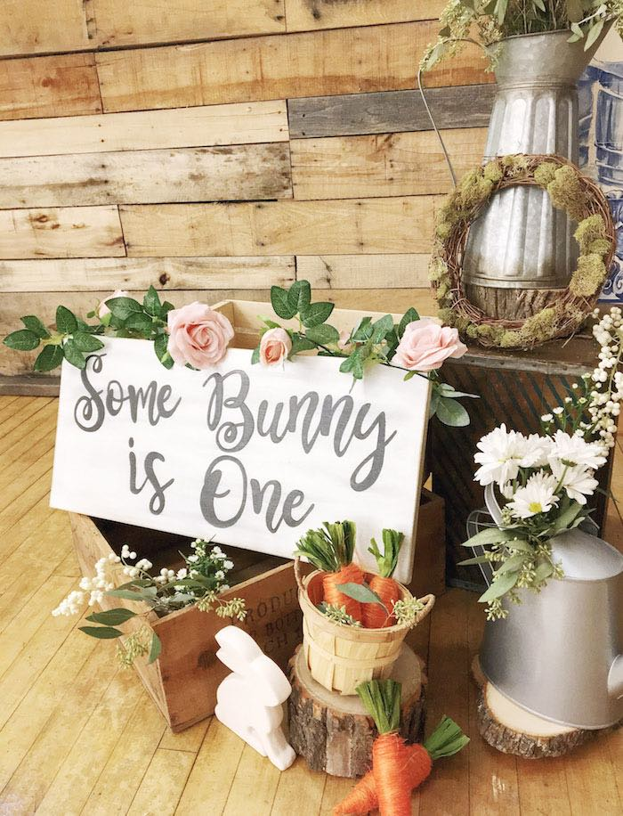 Some Bunny is One Garden Signage + Decor from a Some-Bunny is One Birthday Party on Kara's Party Ideas | KarasPartyIdeas.com (35)