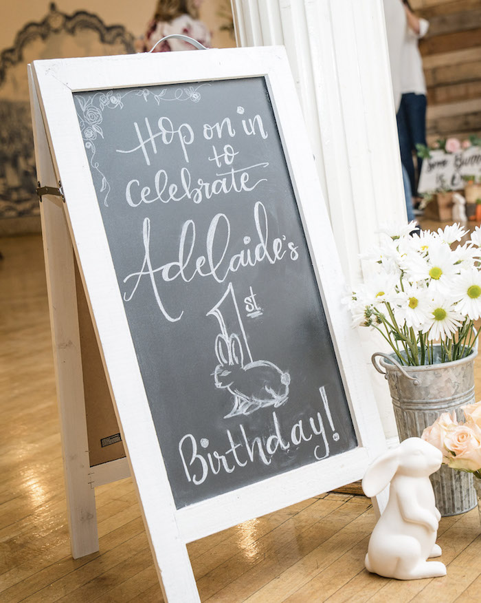 Chalkboard Sign from a Some-Bunny is One Birthday Party on Kara's Party Ideas | KarasPartyIdeas.com (5)