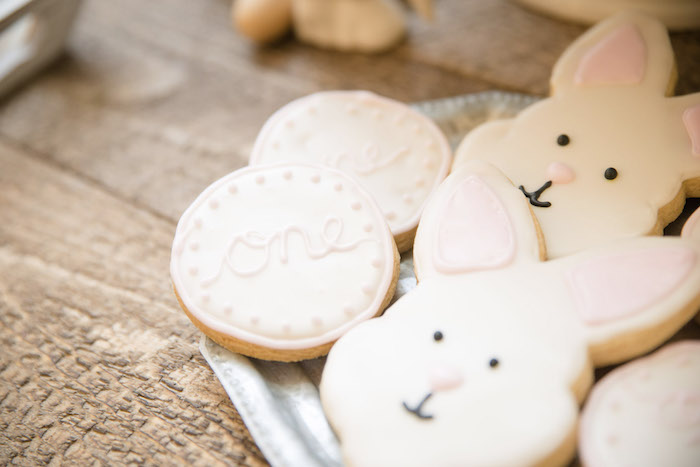 Bunny Cookies from a Some-Bunny is One Birthday Party on Kara's Party Ideas | KarasPartyIdeas.com (34)