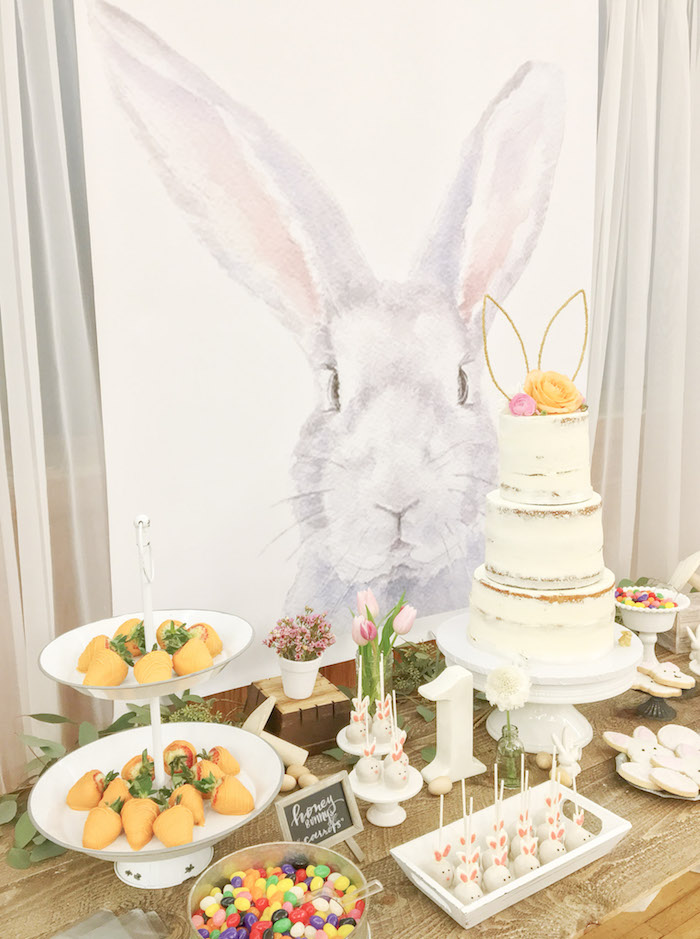 Bunny Themed Dessert Table from a Some-Bunny is One Birthday Party on Kara's Party Ideas | KarasPartyIdeas.com (33)