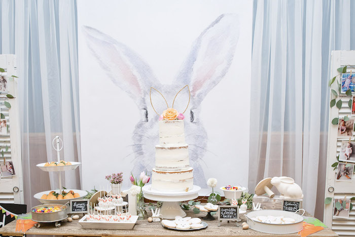 Bunny Themed Dessert Table from a Some-Bunny is One Birthday Party on Kara's Party Ideas | KarasPartyIdeas.com (32)