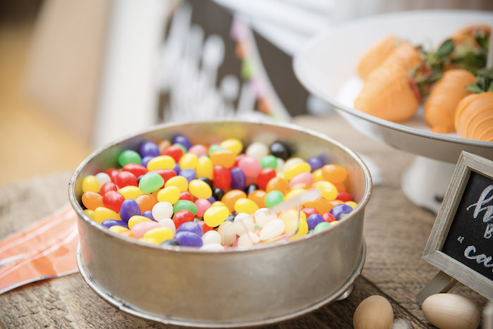Jelly Beans from a Some-Bunny is One Birthday Party on Kara's Party Ideas | KarasPartyIdeas.com (31)