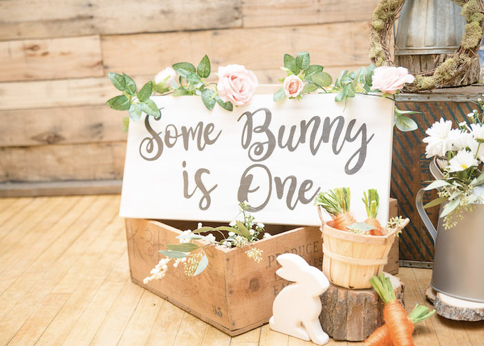 Some Bunny is One Sign from a Some-Bunny is One Birthday Party on Kara's Party Ideas | KarasPartyIdeas.com (30)