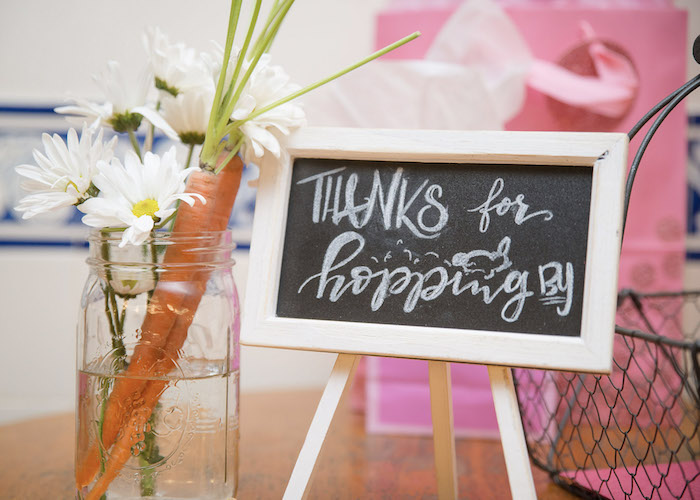Hopping By Chalkboard Sign from a Some-Bunny is One Birthday Party on Kara's Party Ideas   KarasPartyIdeas.com (29)