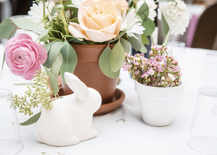Bunny + Blooms Table Centerpieces from a Some-Bunny is One Birthday Party on Kara's Party Ideas | KarasPartyIdeas.com (28)