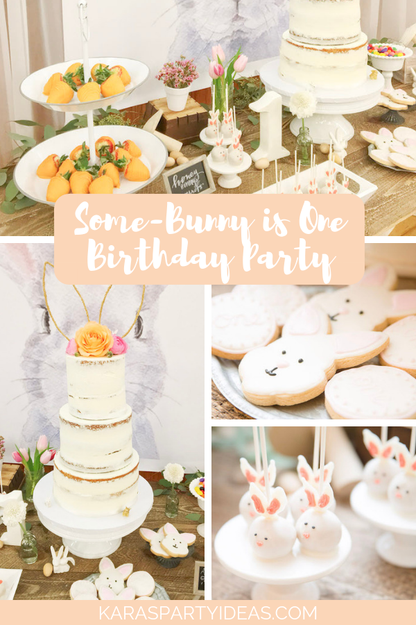Some-Bunny is One Birthday Party via Kara's Party Ideas - KarasPartyIdeas.com