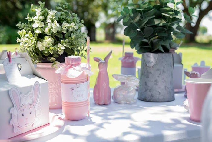 Bunny Themed Party Table from a Somebunny is One Birthday Party on Kara's Party Ideas | KarasPartyIdeas.com (30)