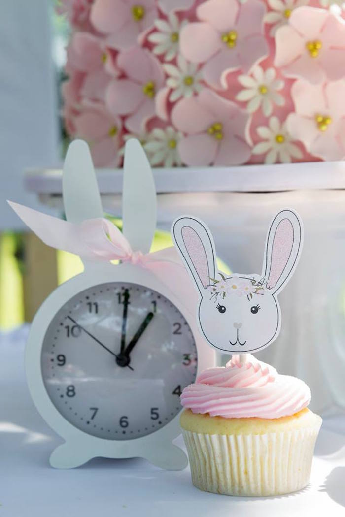 Bunny Clock + Cupcake from a Somebunny is One Birthday Party on Kara's Party Ideas | KarasPartyIdeas.com (28)