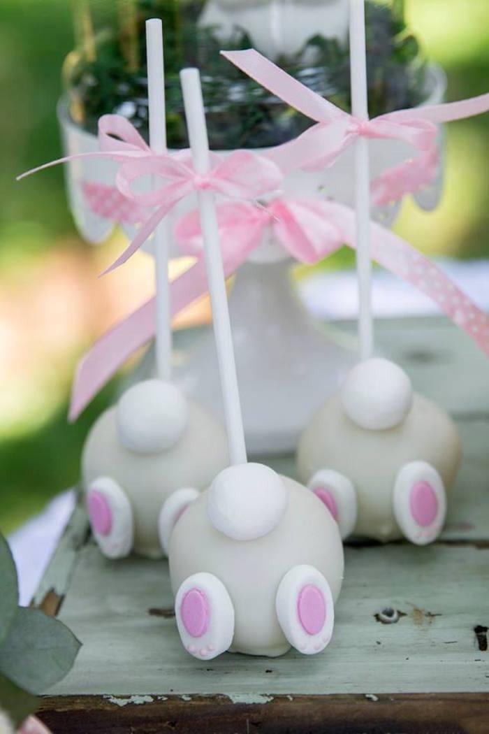 Bunny Cake Pops from a Somebunny is One Birthday Party on Kara's Party Ideas | KarasPartyIdeas.com (27)