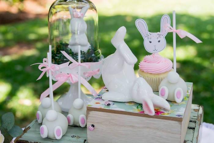 Bunny Themed Cake Pops + Cupcakes + Decor from a Somebunny is One Birthday Party on Kara's Party Ideas | KarasPartyIdeas.com (26)