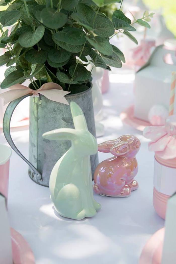 Ceramic Bunny Decorations from a Somebunny is One Birthday Party on Kara's Party Ideas | KarasPartyIdeas.com (25)