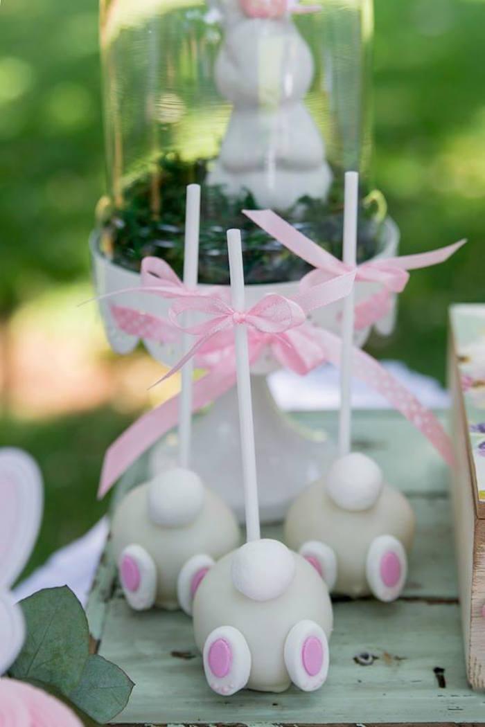 Bunny Backside Cake Pops from a Somebunny is One Birthday Party on Kara's Party Ideas | KarasPartyIdeas.com (24)