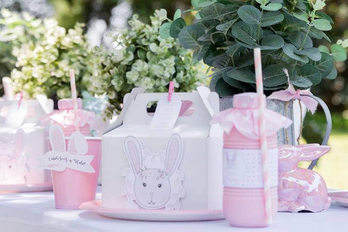 Bunny Themed Gable Lunchbox Table Setting from a Somebunny is One Birthday Party on Kara's Party Ideas | KarasPartyIdeas.com (23)