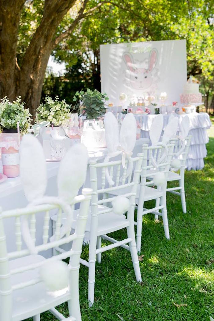 Backside Bunny Chairs from a Somebunny is One Birthday Party on Kara's Party Ideas | KarasPartyIdeas.com (41)