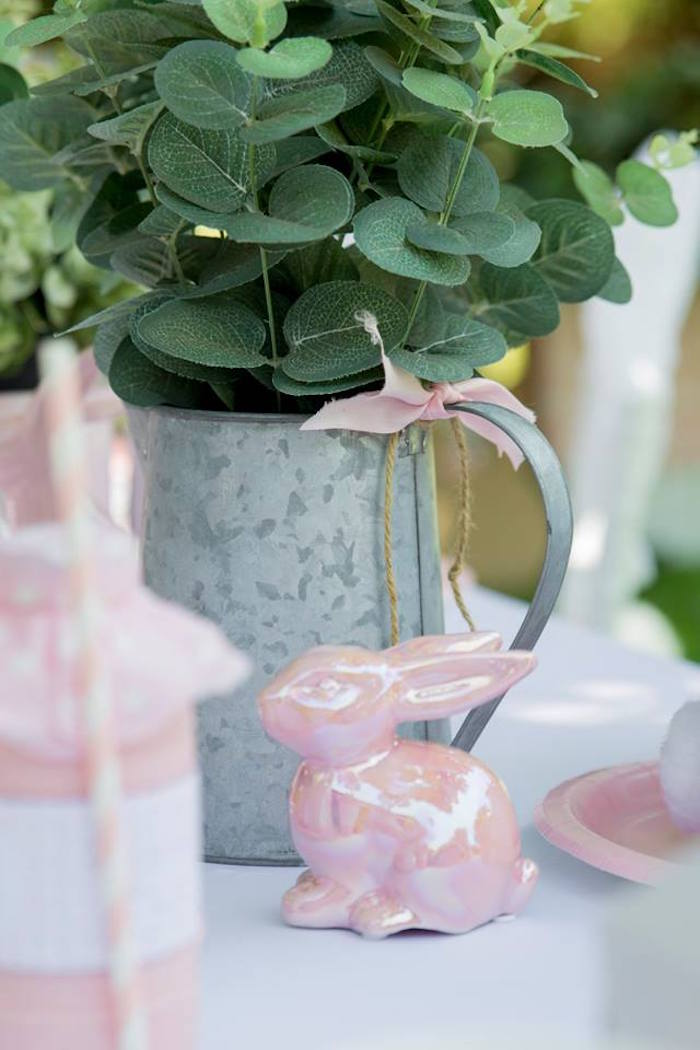Pink Ceramic Bunny + Watering Can Centerpiece from a Somebunny is One Birthday Party on Kara's Party Ideas | KarasPartyIdeas.com (21)