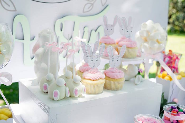 Bunny Themed Sweet Table from a Somebunny is One Birthday Party on Kara's Party Ideas | KarasPartyIdeas.com (20)