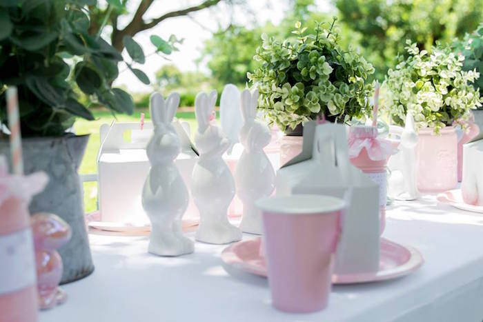 Bunny Party Table from a Somebunny is One Birthday Party on Kara's Party Ideas | KarasPartyIdeas.com (18)