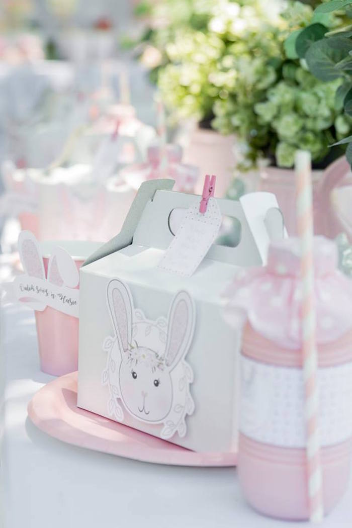Bunny-adorned Gable Lunchbox + Table Setting from a Somebunny is One Birthday Party on Kara's Party Ideas | KarasPartyIdeas.com (17)