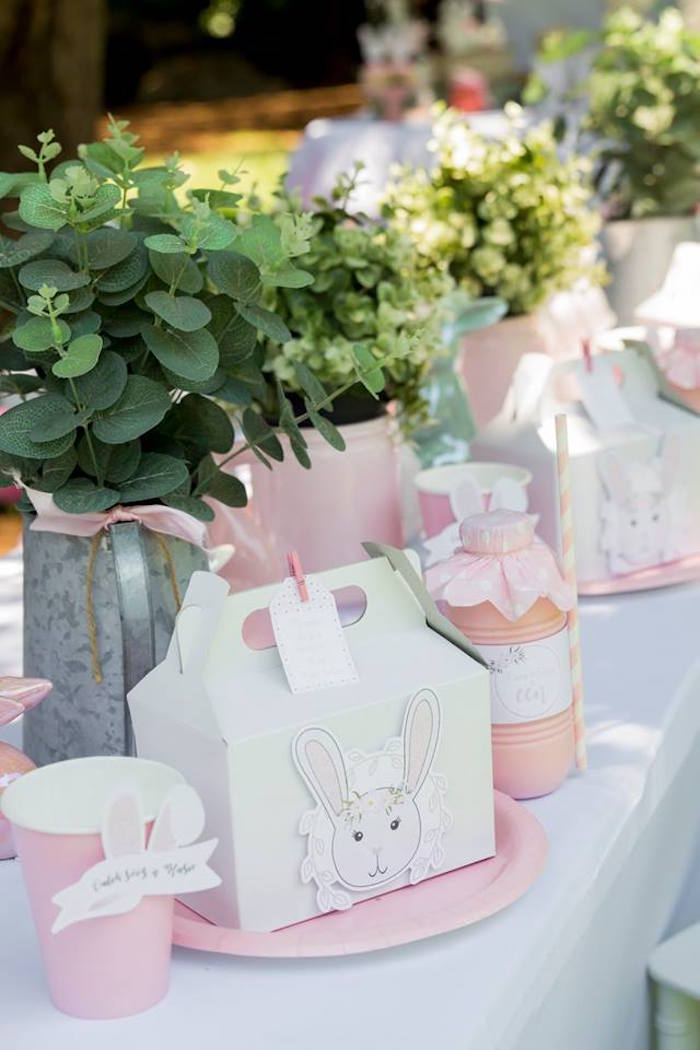 Bunny Themed Gable Lunchbox + Table Setting from a Somebunny is One Birthday Party on Kara's Party Ideas | KarasPartyIdeas.com (16)