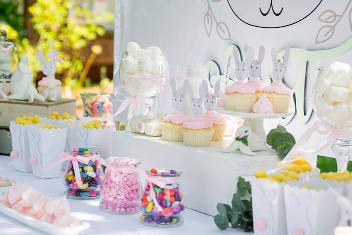 Bunny Themed Dessert Table from a Somebunny is One Birthday Party on Kara's Party Ideas | KarasPartyIdeas.com (14)