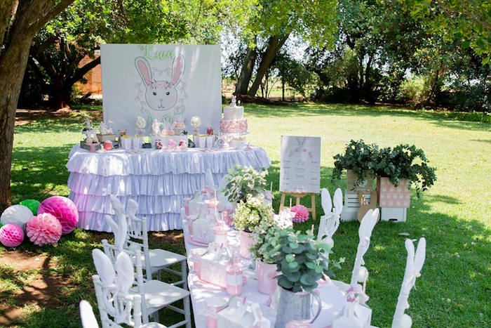 Bunny Themed Party Tables from a Somebunny is One Birthday Party on Kara's Party Ideas | KarasPartyIdeas.com (40)