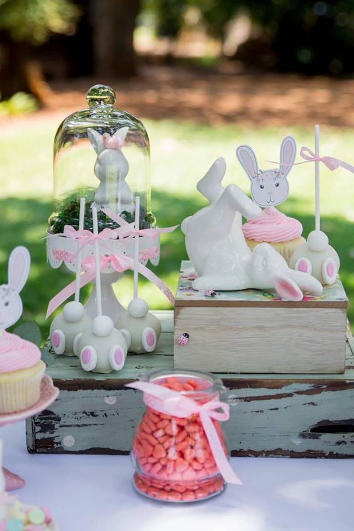 Bunny Themed Dessert Table + Sweets Somebunny is One Birthday Party on Kara's Party Ideas | KarasPartyIdeas.com (10)