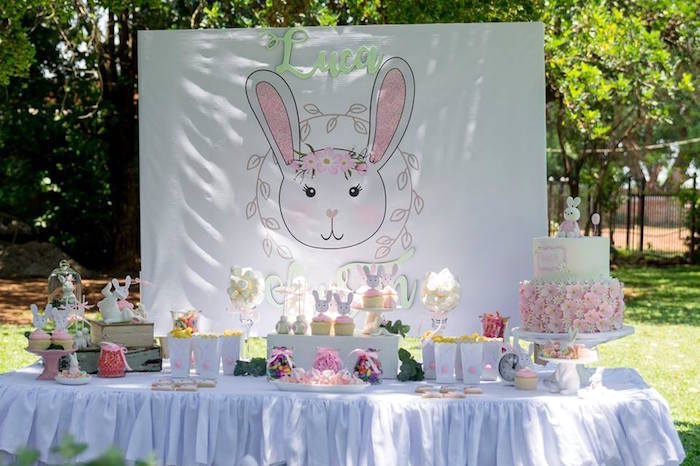 Pink + White Bunny Themed Dessert Table from a Somebunny is One Birthday Party on Kara's Party Ideas | KarasPartyIdeas.com (7)