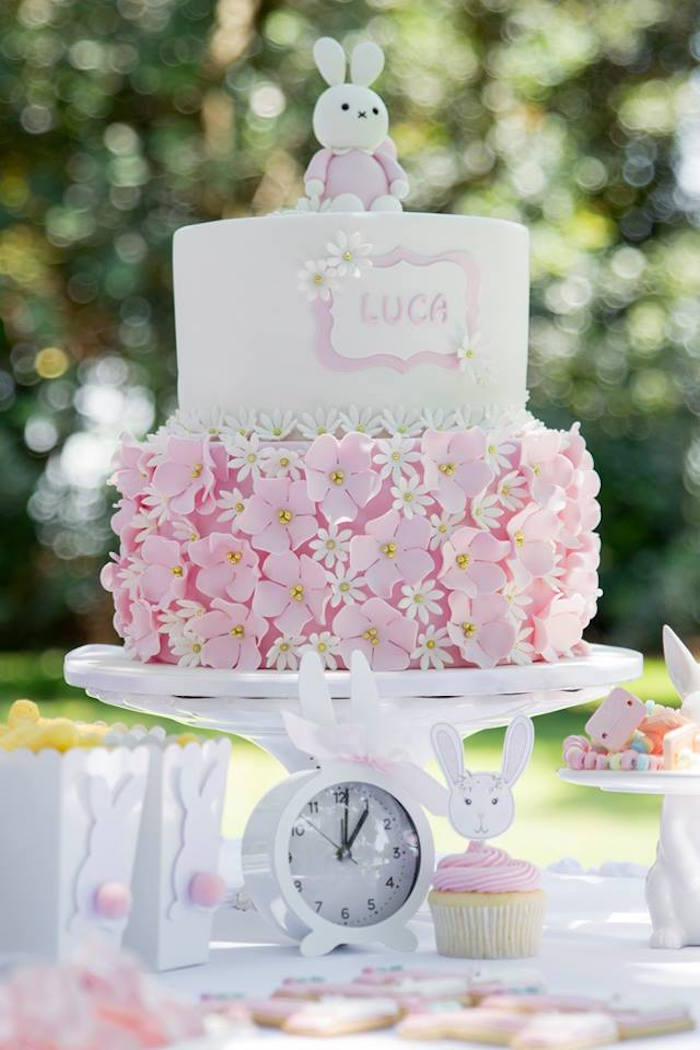Pink + White Flower Bunny Cake from a Somebunny is One Birthday Party on Kara's Party Ideas | KarasPartyIdeas.com (5)