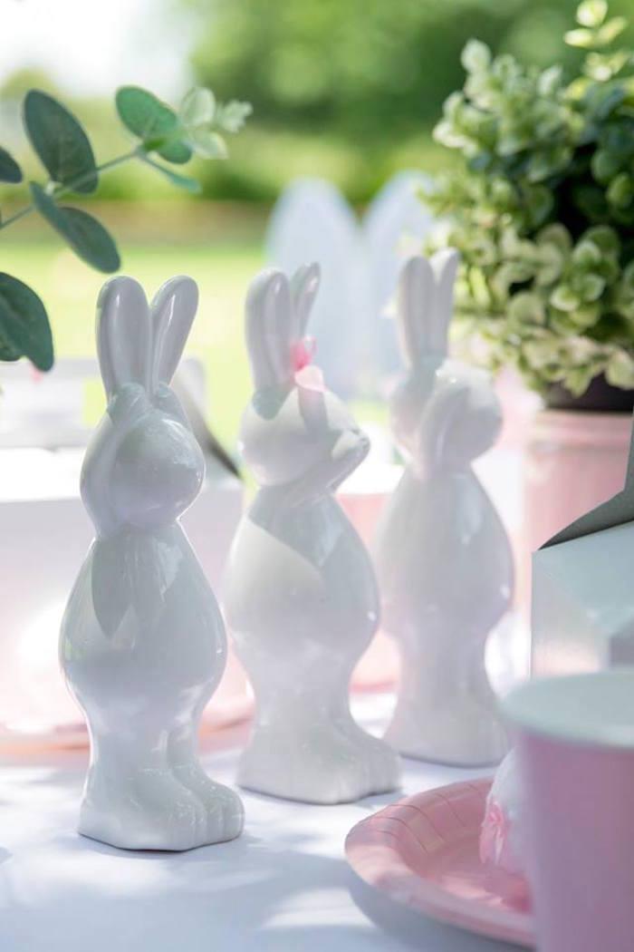 Ceramic Bunnies from a Somebunny is One Birthday Party on Kara's Party Ideas | KarasPartyIdeas.com (39)
