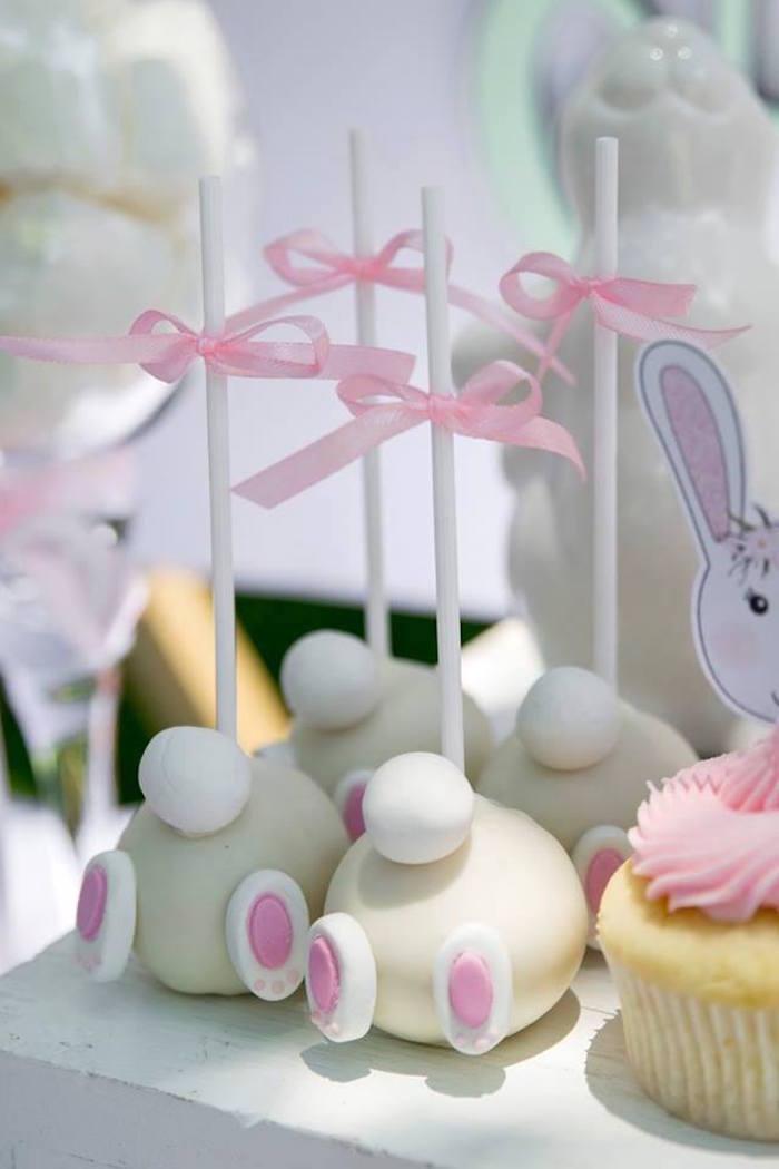 Bunny Bum Cake Pops from a Somebunny is One Birthday Party on Kara's Party Ideas | KarasPartyIdeas.com (37)