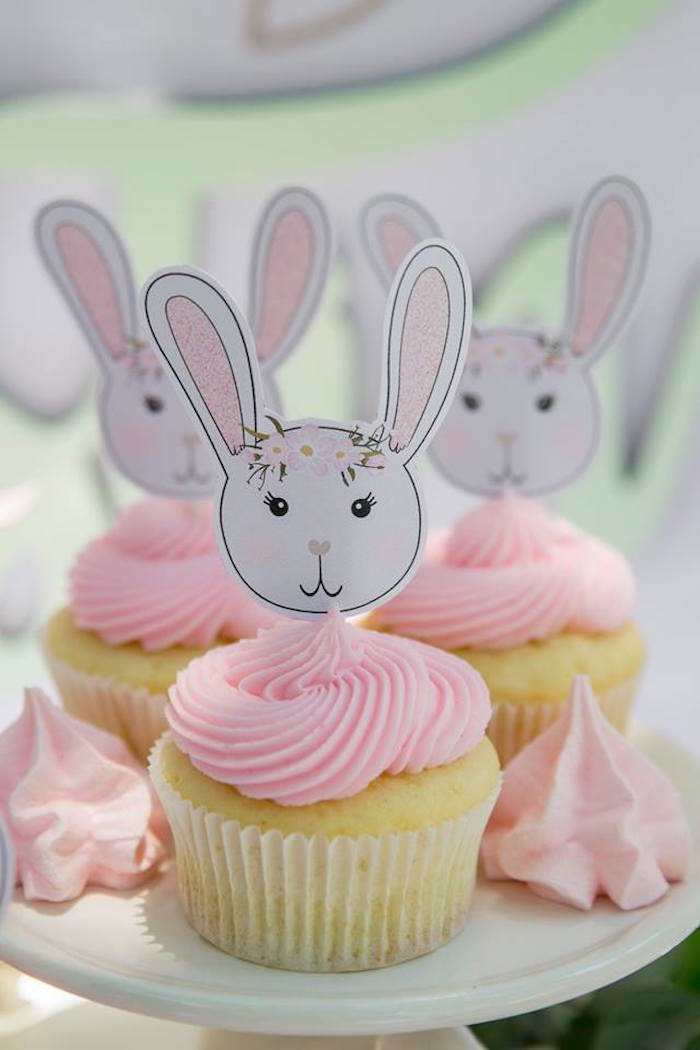 Bunny Cupcakes from a Somebunny is One Birthday Party on Kara's Party Ideas | KarasPartyIdeas.com (36)