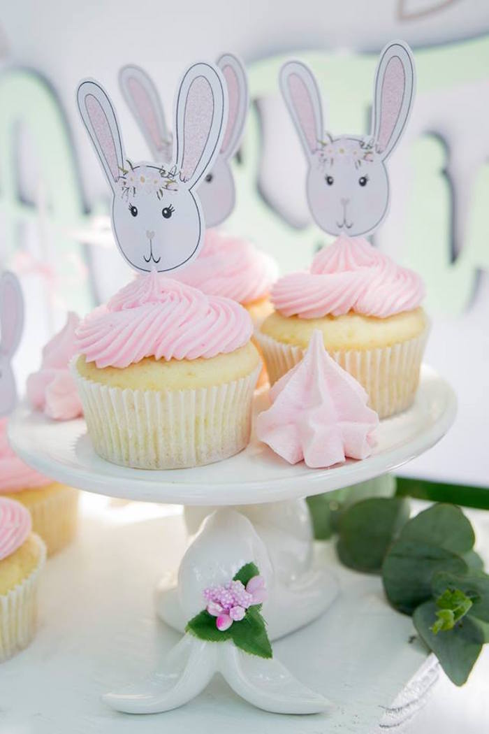 Bunny Cupcakes from a Somebunny is One Birthday Party on Kara's Party Ideas | KarasPartyIdeas.com (33)