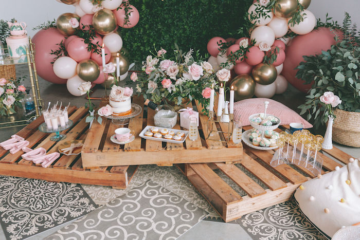 Pallet Board Sweet Spread + Party Tables from a Spring Garden Tea Party on Kara's Party Ideas | KarasPartyIdeas.com (6)