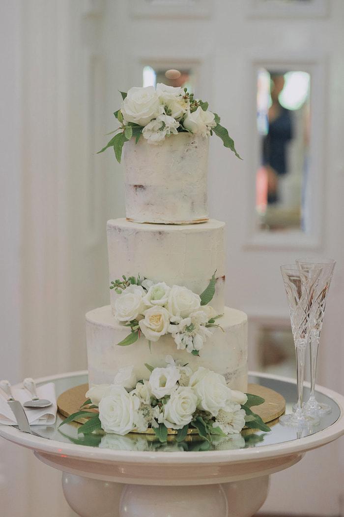 White Floral Wedding Cake from a Stylish & Elegant Wedding on Kara's Party Ideas | KarasPartyIdeas.com (17)