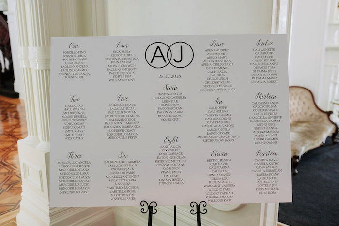 Modern Black + White Seating Chart from a Stylish & Elegant Wedding on Kara's Party Ideas | KarasPartyIdeas.com (13)