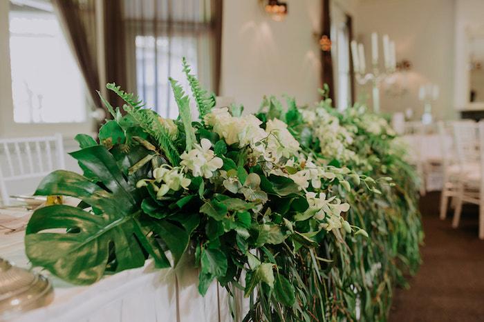 Cascading Greenery + Head Table Centerpiece from a Stylish & Elegant Wedding on Kara's Party Ideas | KarasPartyIdeas.com (11)