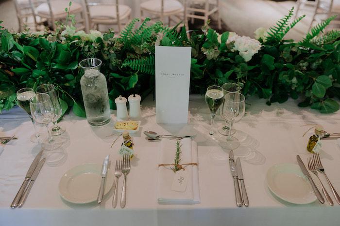 Head Table + Green Runner from a Stylish & Elegant Wedding on Kara's Party Ideas | KarasPartyIdeas.com (10)