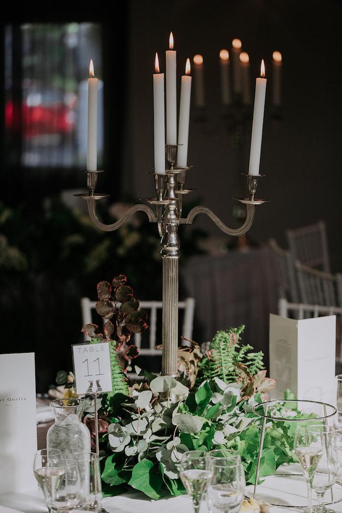 Candelabra Floral Centerpiece from a Stylish & Elegant Wedding on Kara's Party Ideas | KarasPartyIdeas.com (7)