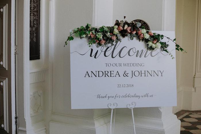 Wedding Welcome Sign from a Stylish & Elegant Wedding on Kara's Party Ideas | KarasPartyIdeas.com (24)