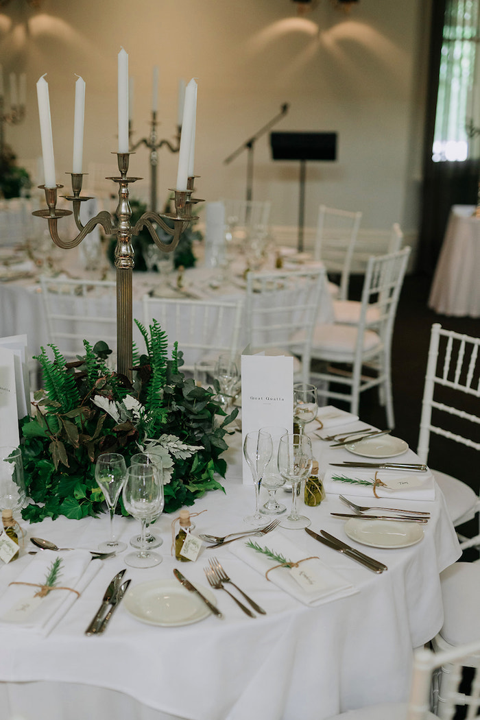 White + Green Guest Table from a Stylish & Elegant Wedding on Kara's Party Ideas | KarasPartyIdeas.com (23)