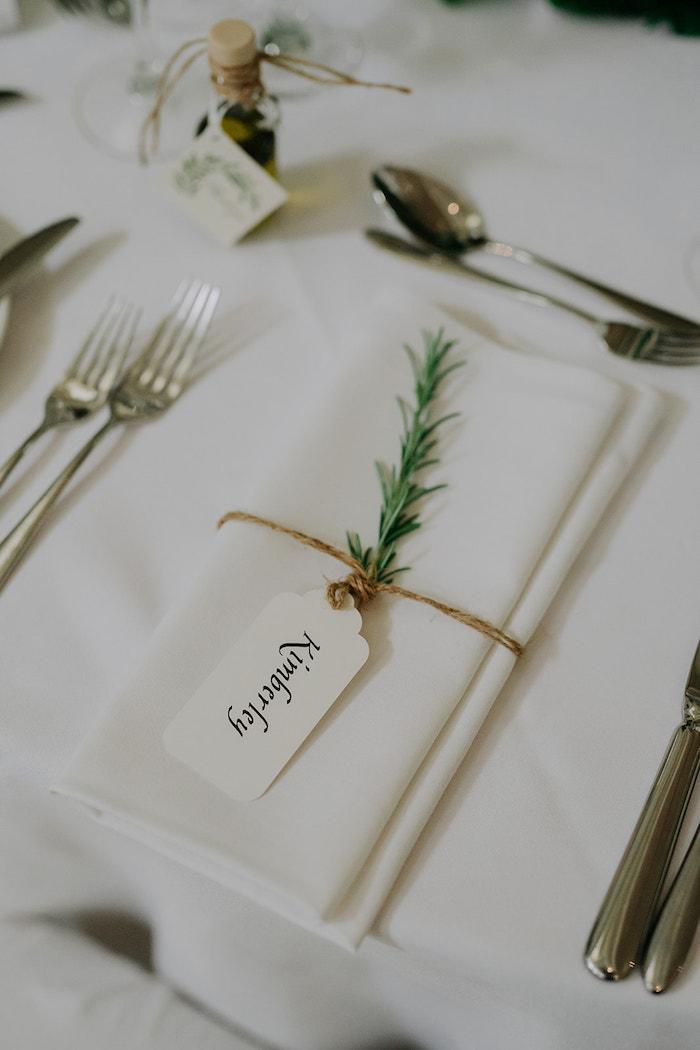 Sprig Napkin Tie + Tag Place Setting from a Stylish & Elegant Wedding on Kara's Party Ideas | KarasPartyIdeas.com (21)