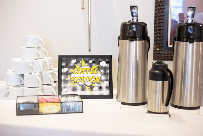 Superhero Coffee Bar from a Superhero Themed Couples Baby Shower on Kara's Party Ideas | KarasPartyIdeas.com (11)