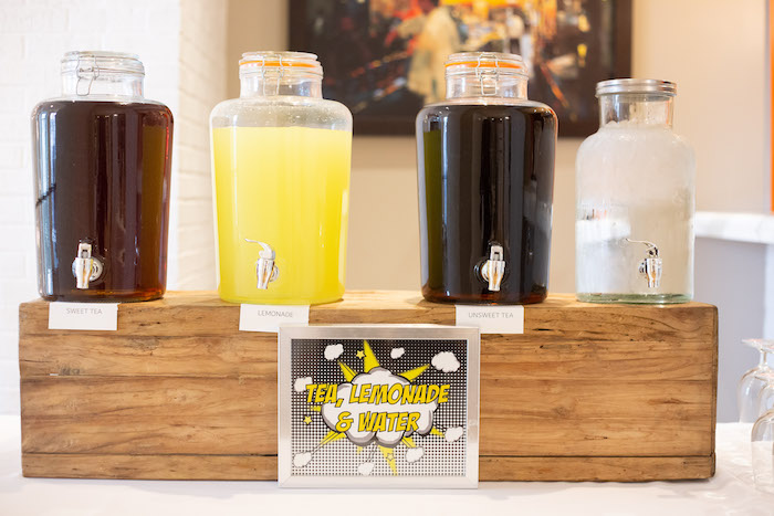 Superhero Beverage Station from a Superhero Themed Couples Baby Shower on Kara's Party Ideas | KarasPartyIdeas.com (10)