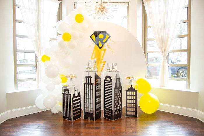 Superhero Cityscape Sweet Spread from a Superhero Themed Couples Baby Shower on Kara's Party Ideas | KarasPartyIdeas.com (7)