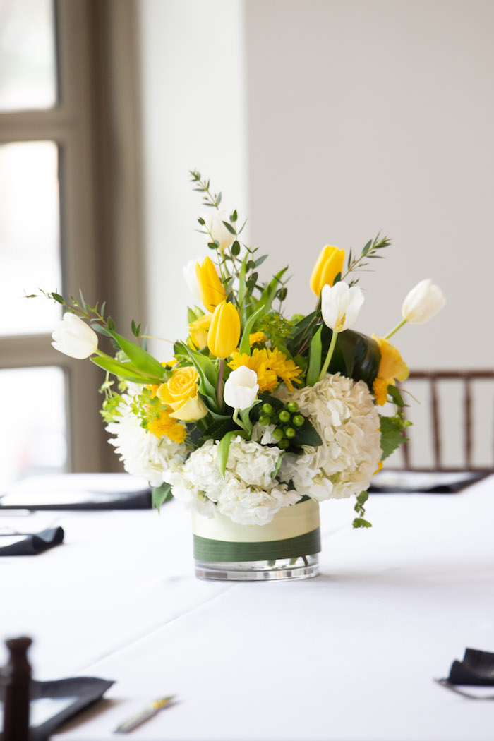 Yellow + White + Green Floral Arrangement from a Superhero Themed Couples Baby Shower on Kara's Party Ideas | KarasPartyIdeas.com (21)