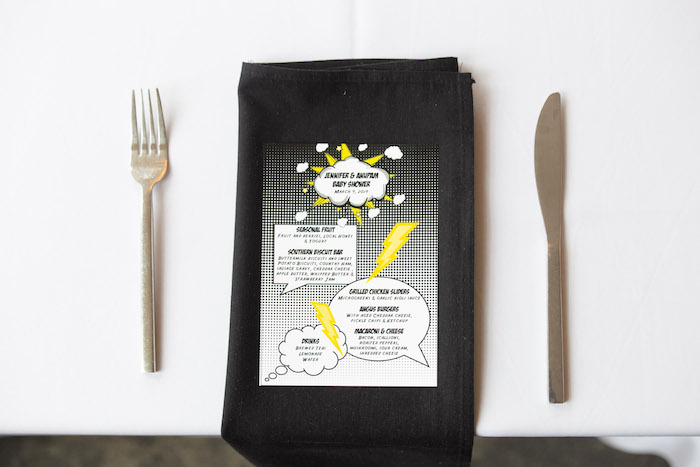 Superhero Menu + Table Setting from a Superhero Themed Couples Baby Shower on Kara's Party Ideas | KarasPartyIdeas.com (20)